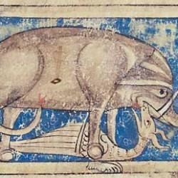 Битва слона и дракона. Рукопись Британской библиотеки (MS Sloane 3544, fol. 35v.)