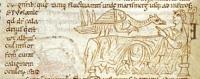 Харадр у постели больного. Рукопись Британской библиотеки (MS Stowe 1076, fol. 2v.)
