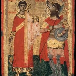 Святой Стефан и Святой Христофор-кинокефал. Греческая икона XVIII века