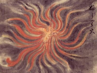 """Фурари-би. Рисунок Саваки Сууси, """"Иллюстрированный свиток сотни демонов"""" 1737 года"""