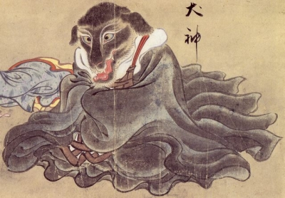 """Инугами. Рисунок Саваки Сууси, """"Иллюстрированный свиток сотни демонов"""" 1737 года"""