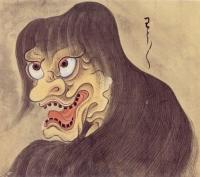 """Ваувау или Оуни. Рисунок Саваки Сууси, """"Иллюстрированный свиток сотни демонов"""" 1737 года"""