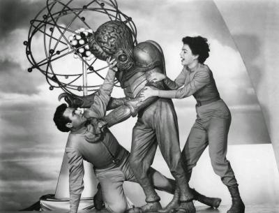 """Рекламное фото со съёмок фильма """"Этот остров Земля"""" (This Island Earth, 1953)"""