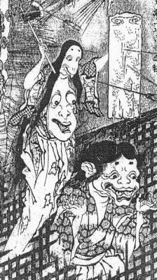 "Харадаси в старом храме. Рисунок Утагава Тоёхиро из ""Ukibotan zenden"" (浮牡丹全伝), 1809"