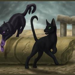 Кошка и нэкомата. Современный рисунок