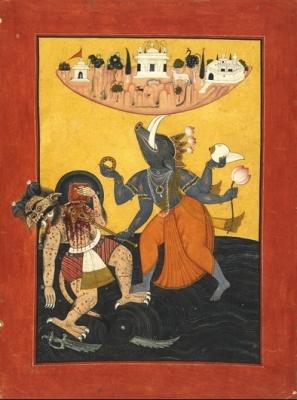 Вараха поднимает землю. Северная Индия, 1740 год