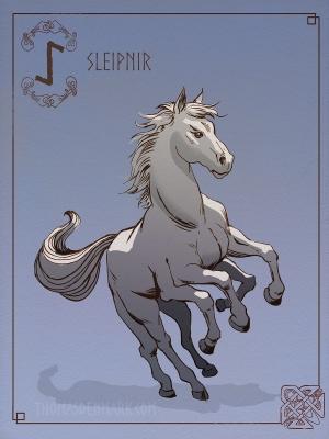 Слейпнир. Иллюстрация Томаса Денмарка