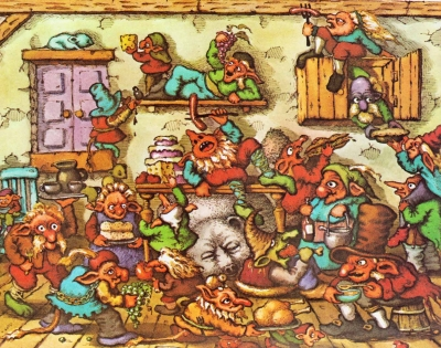 Тролли и кошечка. Иллюстрация Джона О'Брайена