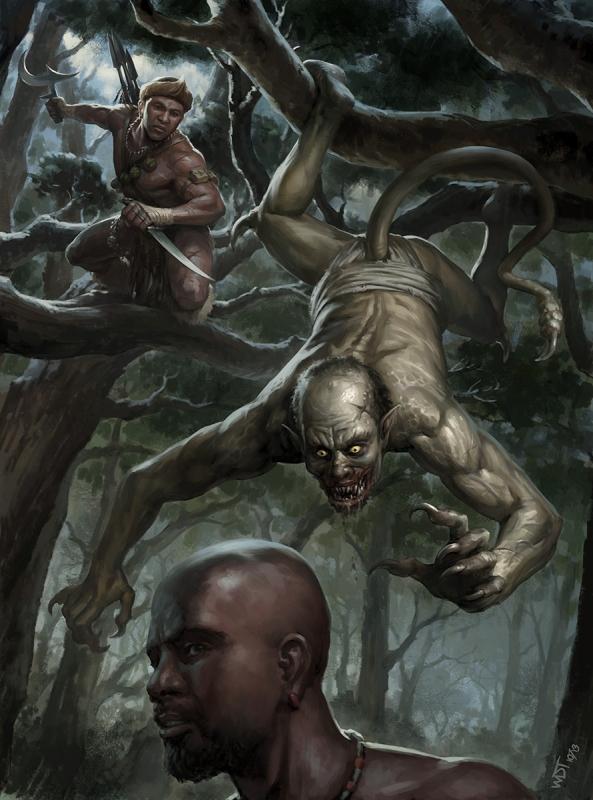 Асанбосам и африканский охотник на вампиров. Иллюстрация Даррена Тана