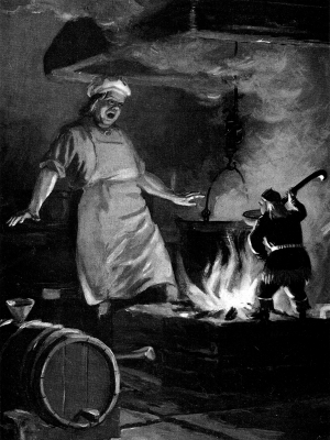 """Ахьюалуне и повар. Иллюстрация Отто Кангиласки к сказке """"Подпечник"""""""