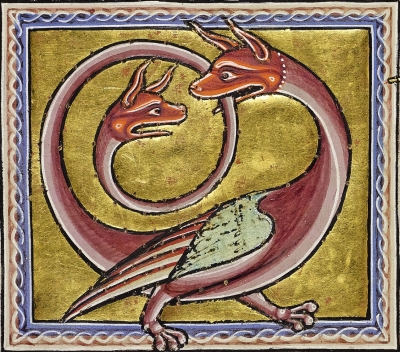 Амфисбена (De anphivena) из Абердинского бестиария (MS24; Folio 68v), XII век