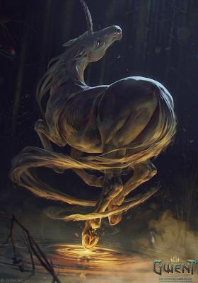 """Единорог Иуарраквакс. Иллюстрация Анны Подедворной к ККИ """"Gwent: The Witcher Card Game"""""""