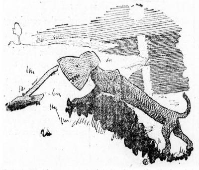 """Топорная гончая. Иллюстрация Арта Чайлдза (газета """"Вечерние новости"""" города Харрисбург, Пенсильвания от 27.09.1922 года)"""