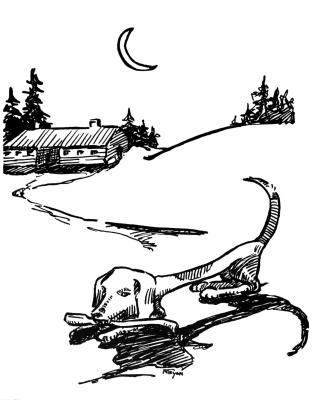 """Топорная гончая. Иллюстрация Маргарет Рэмси Трайон из книги """"Устрашающие твари"""""""