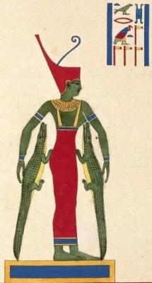 Богиня Нейт кормит двух крокодилов. Книжная иллюстрация