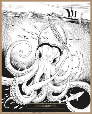 Кракен. Иллюстрация Клаудио Санчеса Вивероса