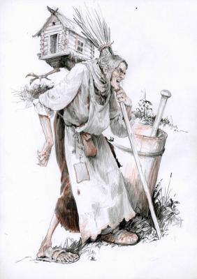 Баба Яга. Иллюстрация Дениса Гордеева к бестиарию Сапковского
