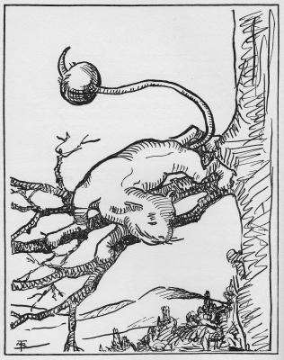 """Шарохвостый кот. Иллюстрация Маргарет Рэмси Трайон из книги """"Устрашающие твари"""""""