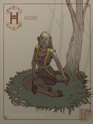 Хульдра. Иллюстрация Томаса Денмарка