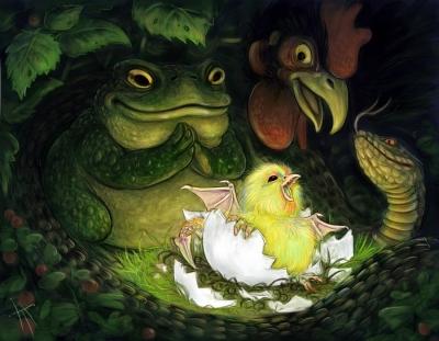 Рождение василиска. Иллюстрация Владимира Аржевитина