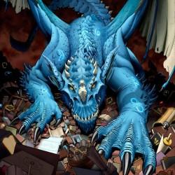 """Синий дракон на иллюстрации Скотта Джонсона """"Dragon Psychosis"""""""