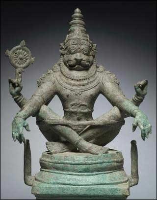 Гириджи-Нарасимха. Бронзовая фигурка династии Чола (II  век нашей эры)