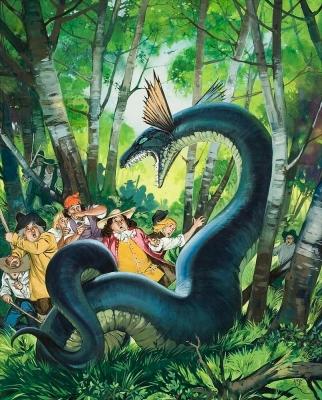 "Дракон из Берчвуда. Иллюстрация Ангуса МакБрайда для журнала ""Finding Out"""