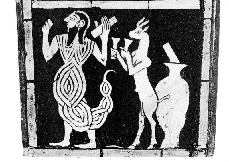 Человек-скорпион и коза с фронтального украшения Большой арфы, найденной при раскопках в гробнице Пуаби