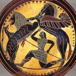 Химера, Пегас и Беллерофонт. Чернофигурный килик, около 570-565 гг. до н.э.
