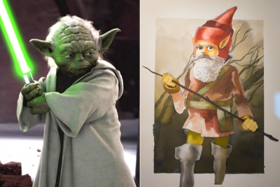 """Ранний концепт (справа) и окончательный вариант облика мастера Йоды из киновселенной """"Звездных войн"""""""