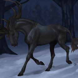 Гиппоцерв на рисунке от mule-deer