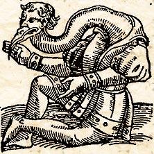 """Человек-журавль. Иллюстрация из """"Prodigiorum ac ostentorum chronicon"""""""