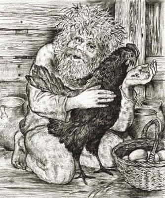 Домовой с черной курицей. Офорт Юрия Дубинина (1996)