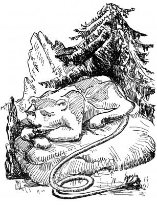 """Дингмол или колотопозад. Иллюстрация Маргарет Рэмси Трайон из книги """"Устрашающие твари"""""""
