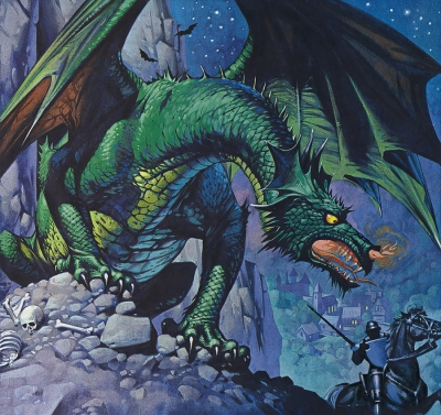 "Дракон. Иллюстрация Ангуса МакБрайда для журнала ""Finding Out"""