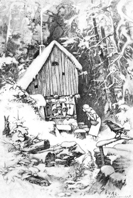 Три лесных гнома (Die drei Männleim im Walde). Иллюстрация Германа Фогеля к сказке братьев Гримм