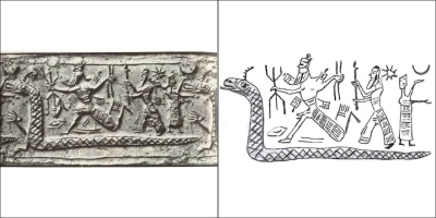 Богиня-дракон Тиамат. Оттиск с нео-ассирийской печати