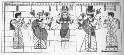 Король Натакамани и королева Аниматере поклоняются львиноголовому богу Апедемаку.
