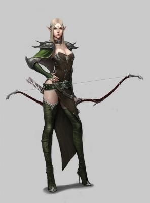 """Эльфийская лучница. Иллюстрация Chihwan """"dimelife"""" Song"""