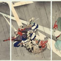 Ёримаса убивает Нуэ. Гравюра Цукиоки Когё к «Повести о доме Тайра»