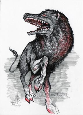 Левкрокота (Leucrqcota). Иллюстрация Ивана Онякова к бестиарию Сапковского