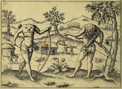 """Эвайпанома из """"Открытия Гвианы"""" Уолтера Рэли. Гравюра Йодокуса Хондиуса (1599)"""
