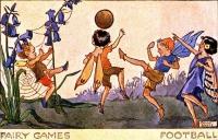 """Футбол"". Открытка из серии ""Виды спорта фейри"". Молли Бретт, 1982 год"