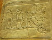 Зайцеголовые демоны. Барельеф из храма Гора в Эдфу