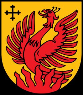 Феникс на гербе латышского города Дагда
