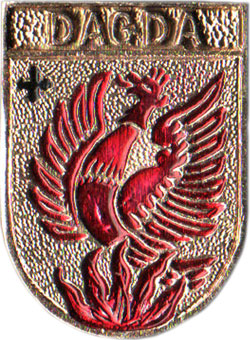 Феникс на гербе латышского города Дагда (значок)