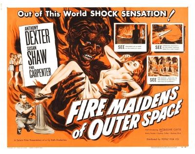 """Американский постер фильма """"Огненные девы из космоса"""" (Fire Maidens from Outer Space, 1956)"""