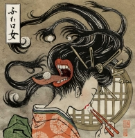 "Футакучи-онна (Futakuchi Onna). Иллюстрация Юко Шимизу для проекта ""Beware of the Yokai!"" от Discovery Channel"