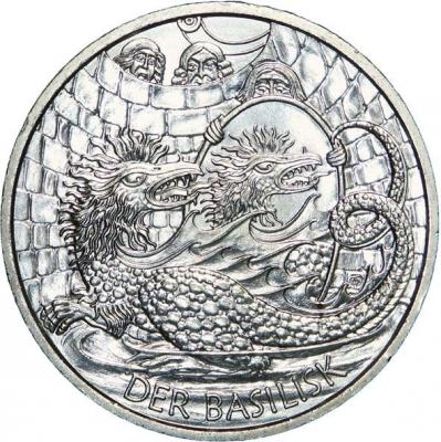 Венский василиск. Австрийская монета номиналом 10 евро (2009)