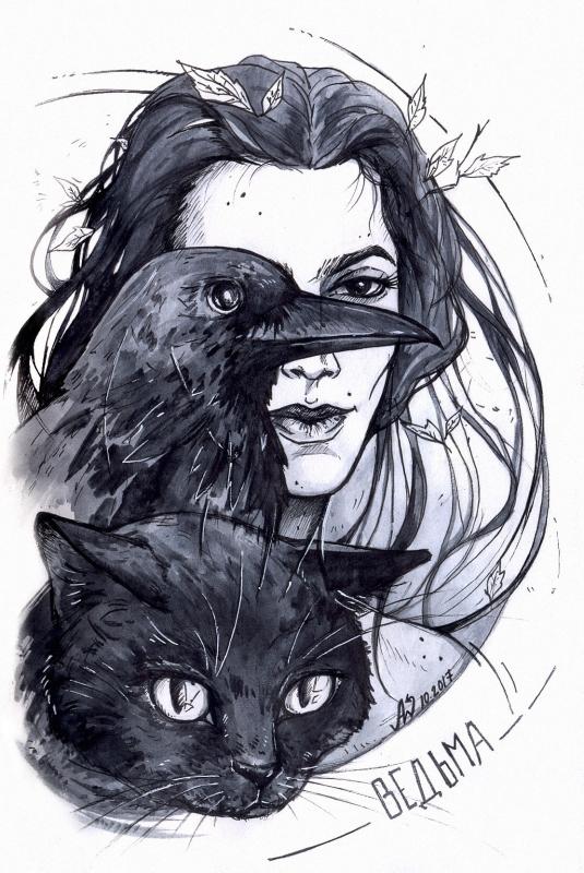 Ведьма. Иллюстрация Andy Wendigo (O-Zimina)
